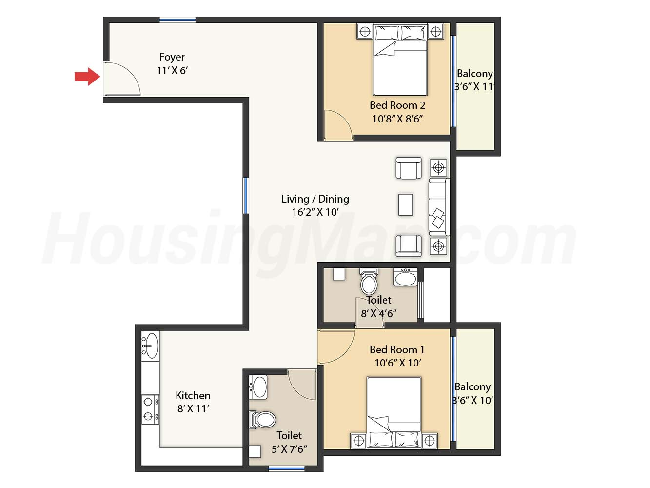 2bhk 2t 1171 t