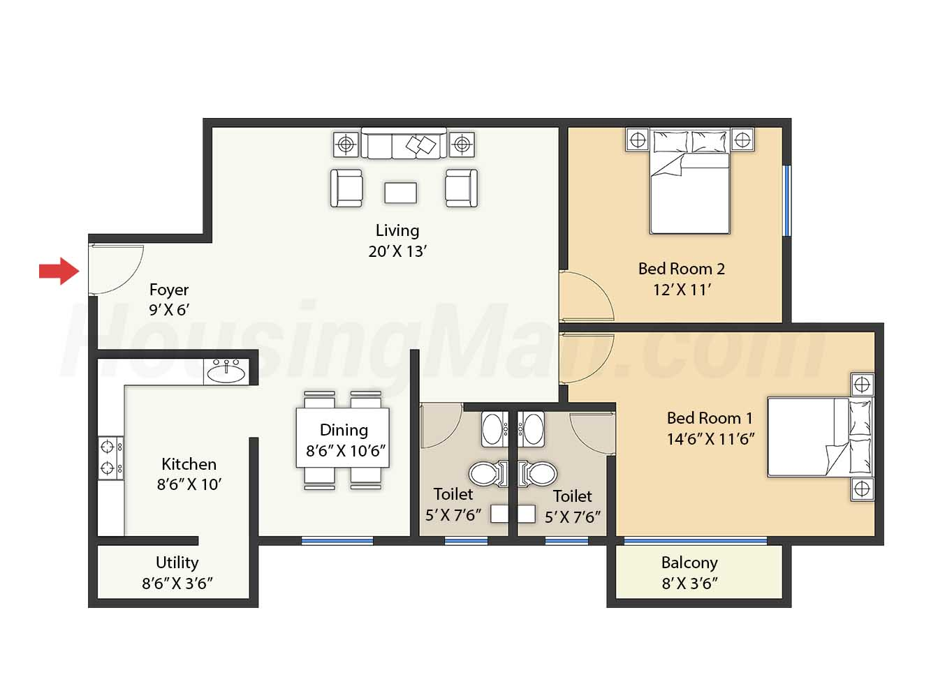 2bhk 2t 1250 t