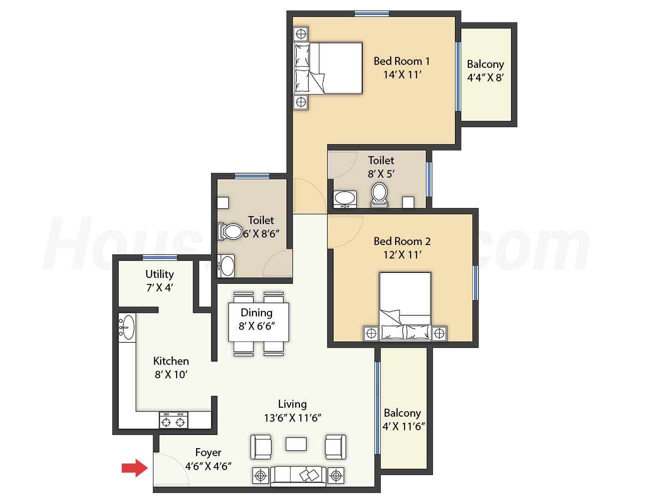 2bhk 2t 1243 t