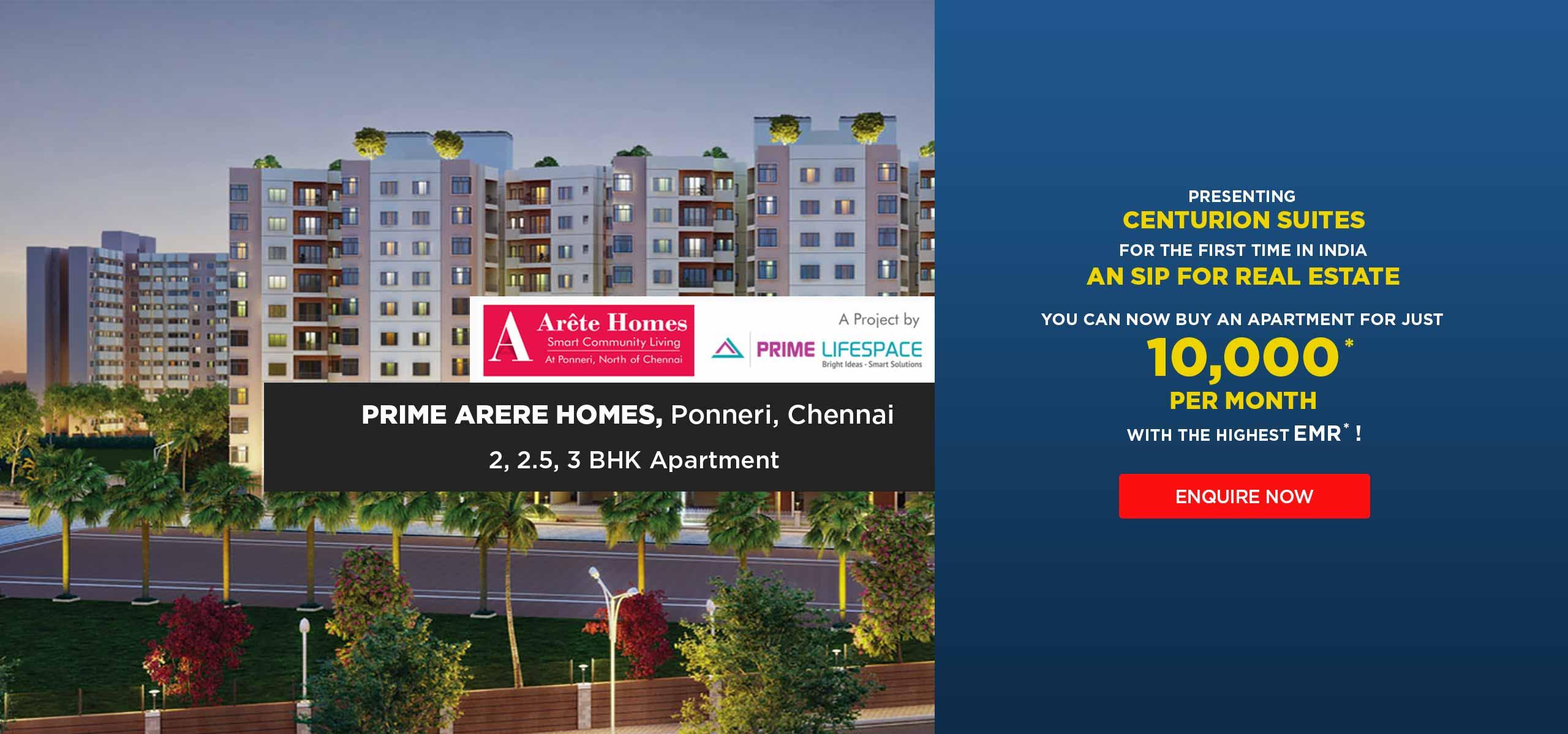 Prime Arete Homes Ponneri Chennai banner