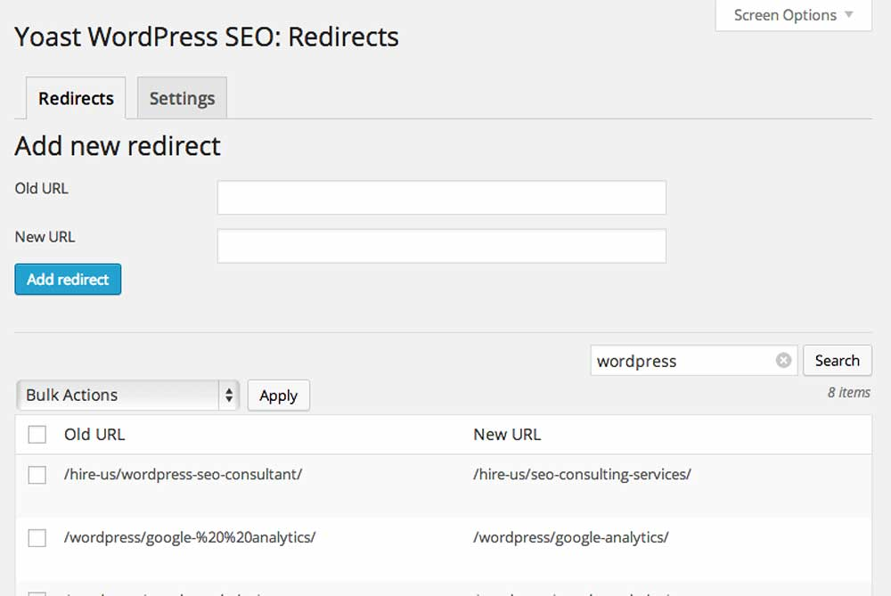 wordpress seo premium redirects