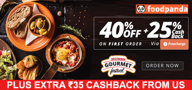 indiancashback-December-Gourment-Get-Flat-40percent-off--on-your-first-order---25percent-Freecharge-cash---Additional-Rs-35-c