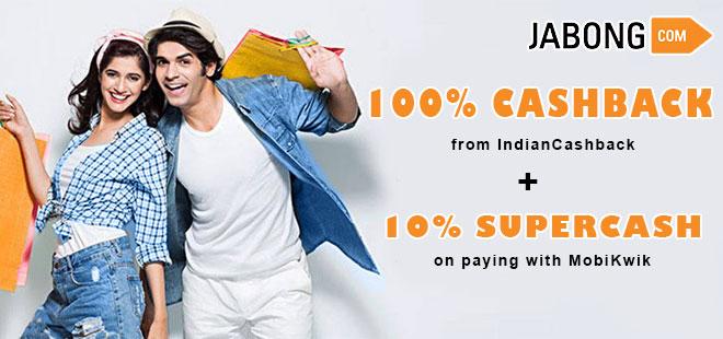 indiancashback-Get-10percent-Supercash-upto-Rs-250-on-Jabong-via-MobiKwik----Additional-Rs-260-cashback-from-us