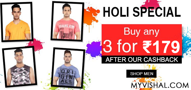indiancashback-Holi-Special--Buy-3-Mens-stylish-T-shirt-for-Rs-179-only--After-Cashback-----