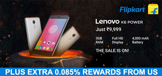 indiancashback-Launching-Lenovo-K6-Power---Just-Rs9-999---Additional-0-085percent-rewards-from-us