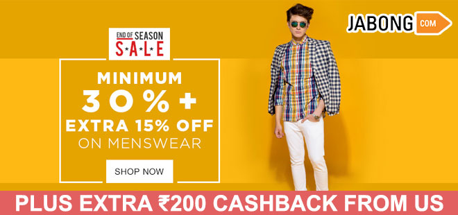 indiancashback-Minimum-30percent-OFF---Extra-15percent-OFF-on-Menswear---Additional-Rs-200-cashback-from-us