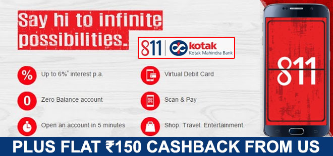 indiancashback-Open-a-Zero-Balance-Savings-Account-with-Kotak-bank-and-earn-6percent-and-many-more---Additional-Rs-150-cashba