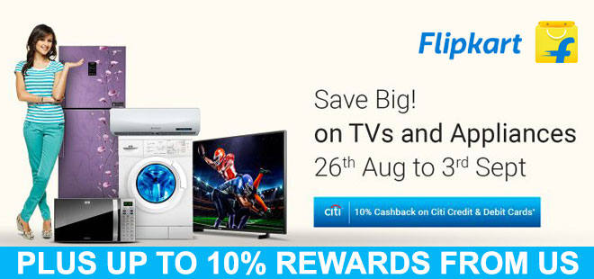 indiancashback-Save-Big--On-TVs-and-Appliances---10percent-Cashback-on-CITI-Bank-cards---Up-to-10percent-rewards-from-us