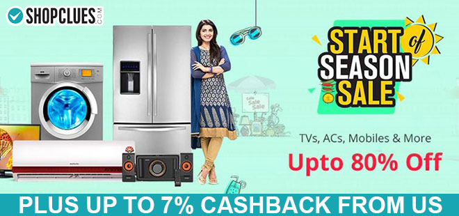 indiancashback-Start-of-Season-Sale--Up-to-80percent-off-on-TVs--ACs--Mobiles---more---Up-to-7percent-cashback-from-us