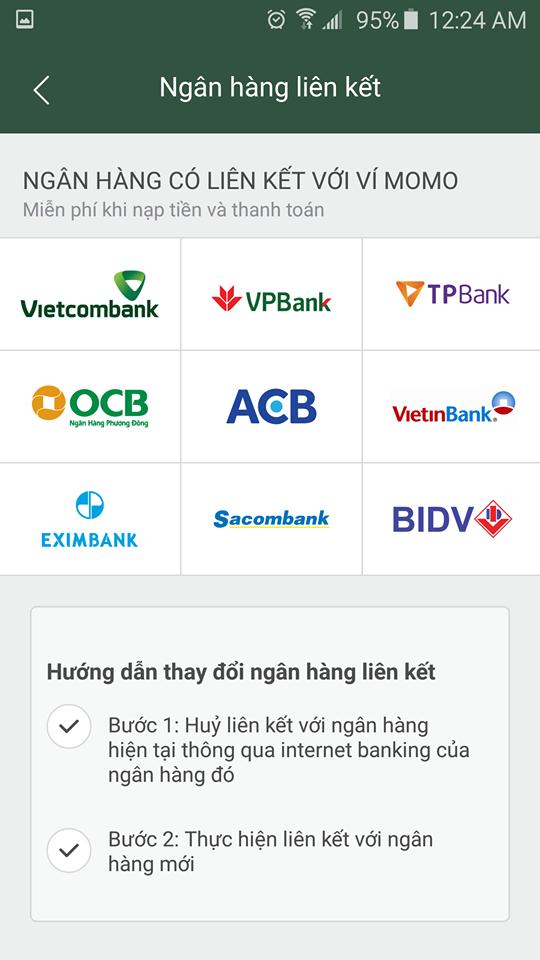 hướng dẫn cài đặt momo với ngân hàng