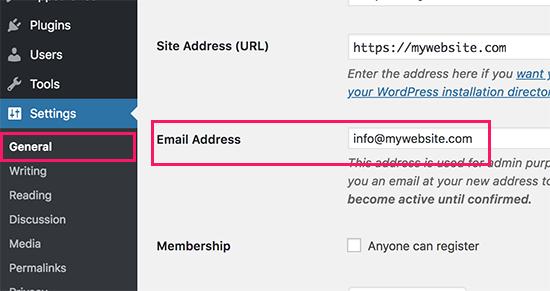 IDOLTV Hướng dẫn thay đổi email wordpress 1