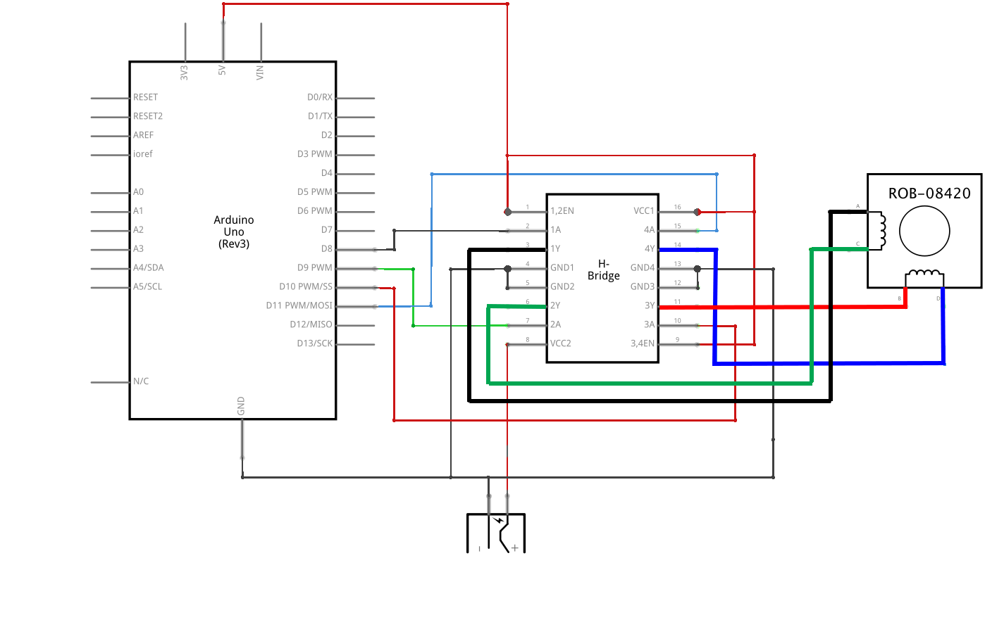 Imx As11304 12v Piezo Siren Circuit Ear Piercing Sound Using A Potentiometer We Were Able To Control The Stepper Motor Used Arms Of Drawing Machine This Is Schematic For It
