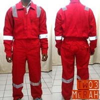 Jual Pakaian Safety Teamwork Tw03 Coverall Tebal Merah - Wearpack