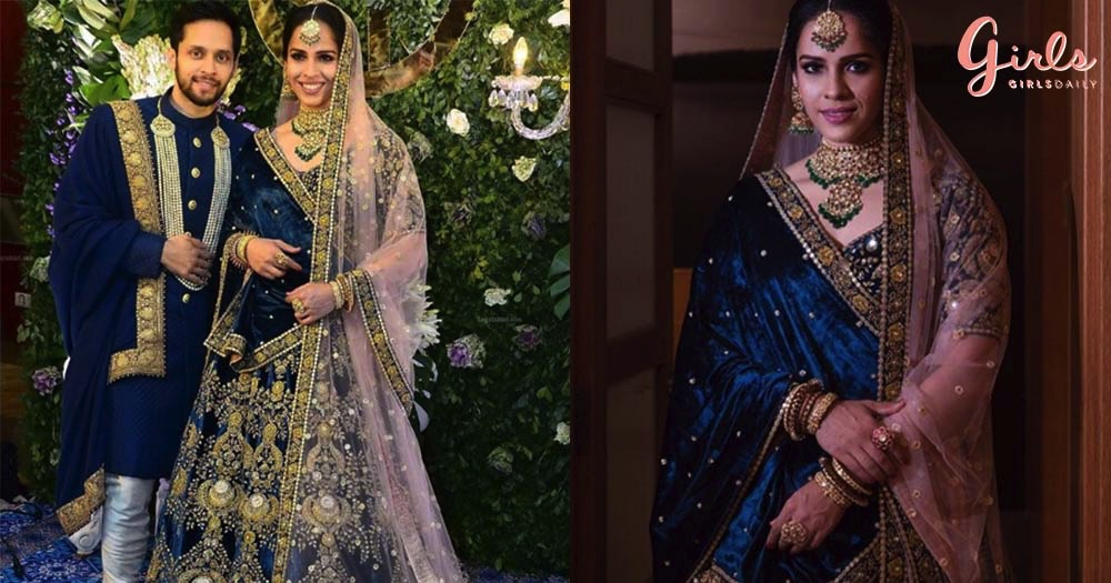Badminton Champ Saina Nehwal Looked Brilliant In Blue On Her Reception & We Are Happy Crying!