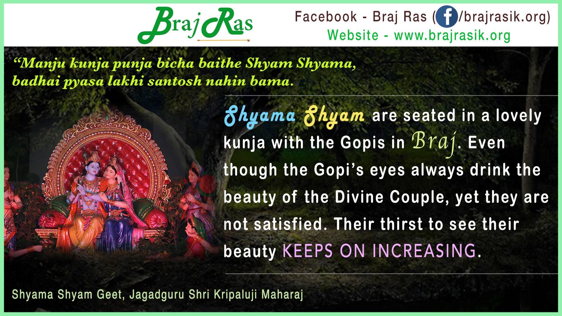 """""""Manju kunja punja bicha baithe Shyam Shyama"""" -Shyama Shyam Geet, Jagadguru Shri Kripaluji Maharaj"""
