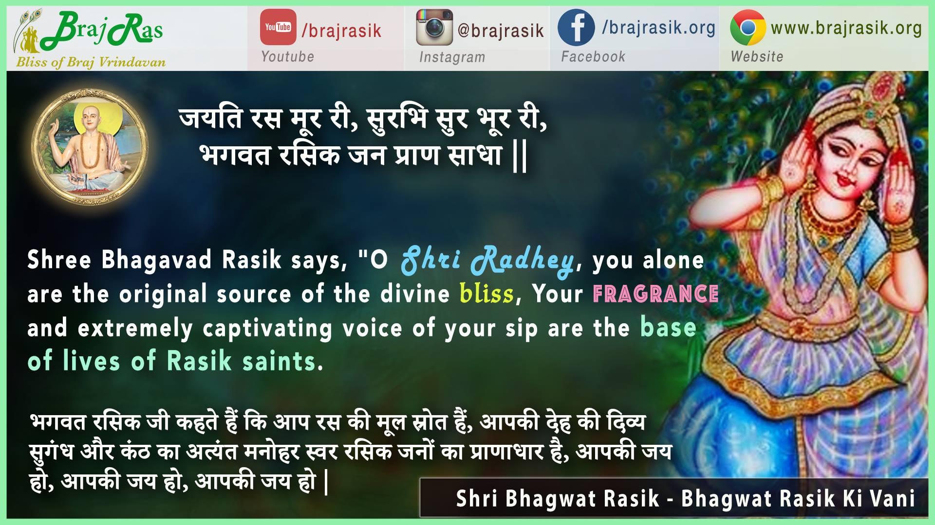 Jayati Ras Moor Ri - Shri Bhagwat Rasik, Bhagwat Rasik Ki Vani