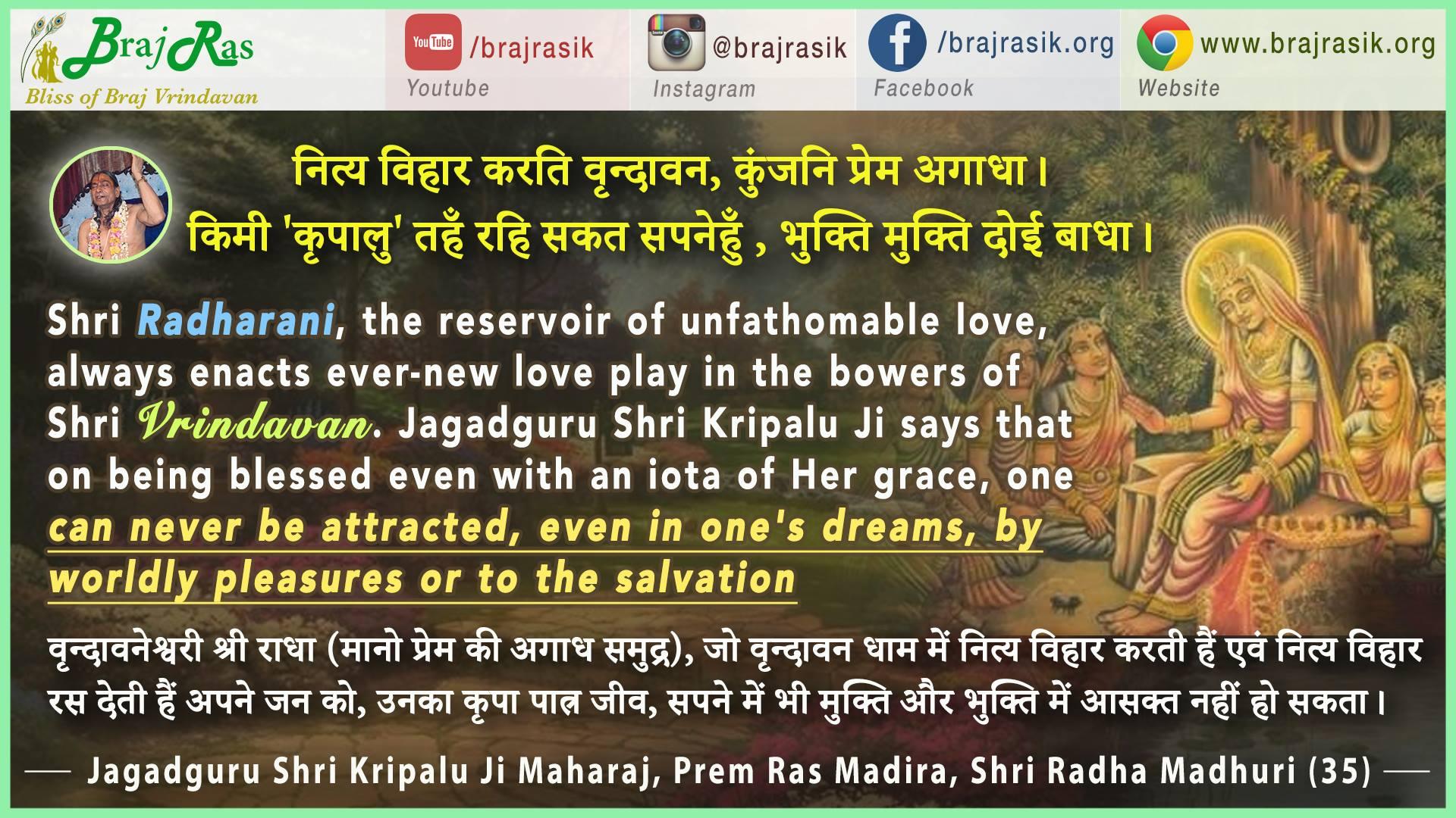 Nitya Vihar Karati Vrindavan - Jagadguru Shri Kripalu Ji Maharaj, Prem Ras Madira, Shri Radha Madhuri(35)