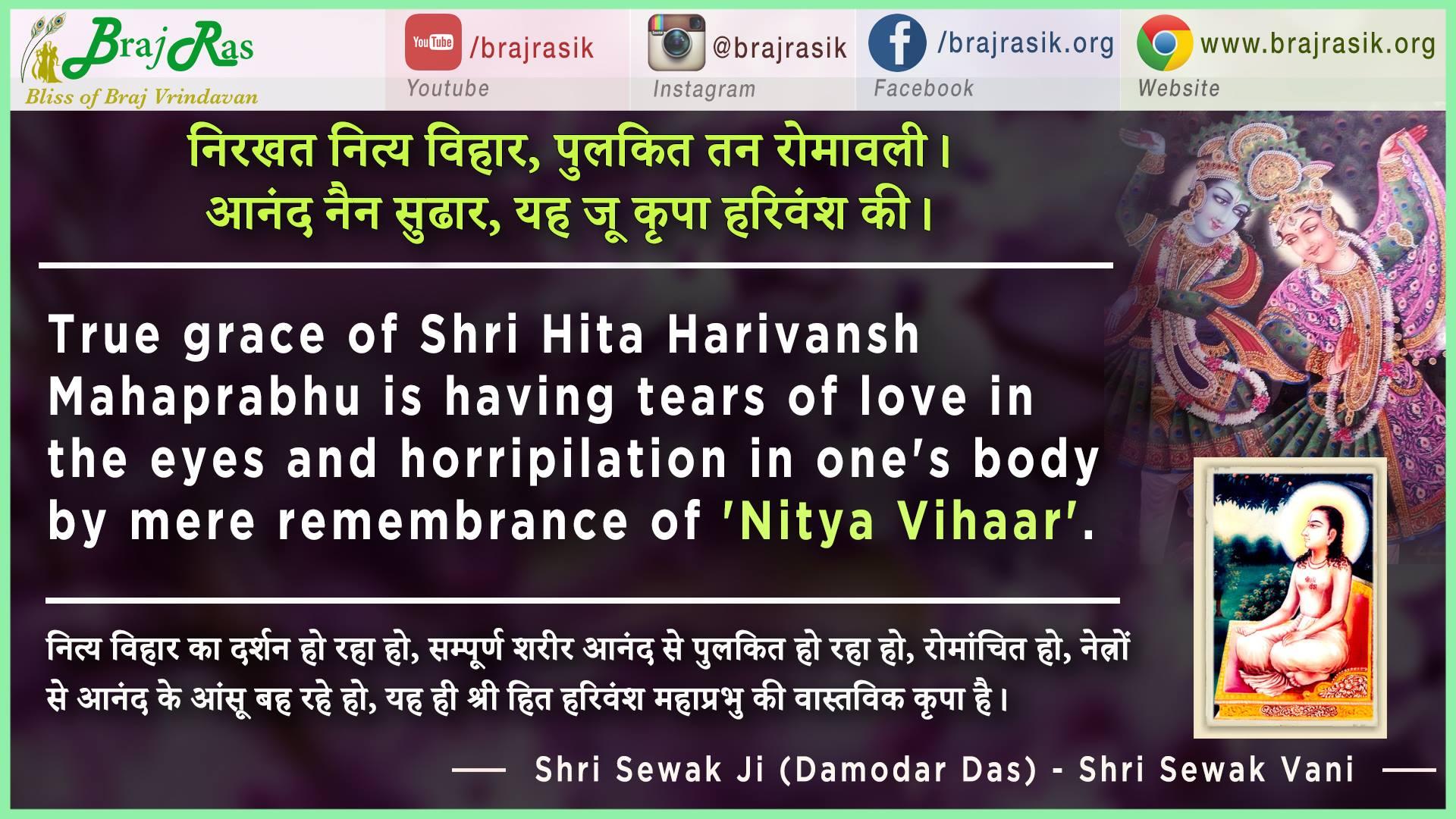Nirkhat Nitya Vihar, Pulkit Tan Romavali - Shri Sewak Ji (Damodar Das) - Shri Sewak Vani