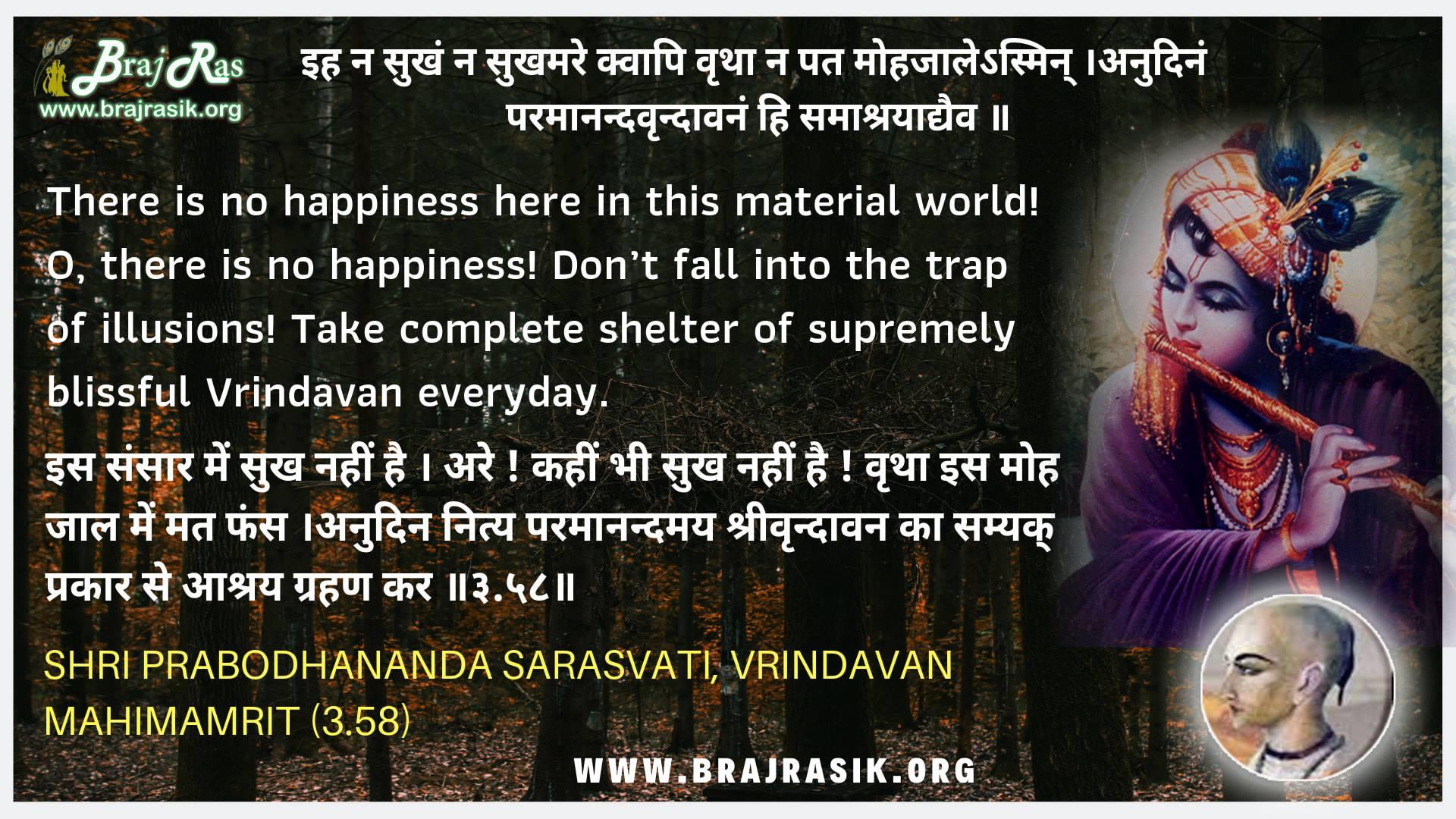 Iha Na Sukham Na Sukhmare Kapi - Shri Prabodhananda Sarasvati, Vrindavan Mahimamrit (3.58)