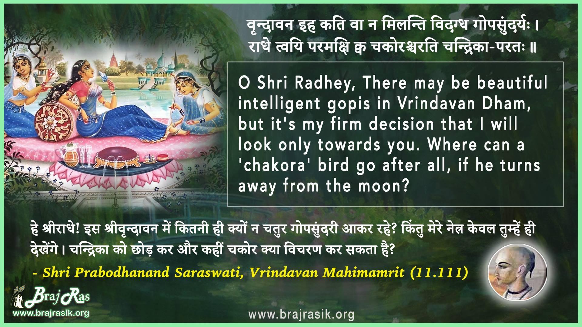 Vrindavan Iha Kati Va Na - Shri Prabodhanand Saraswati, Vrindavan Mahimamrit (11.111)