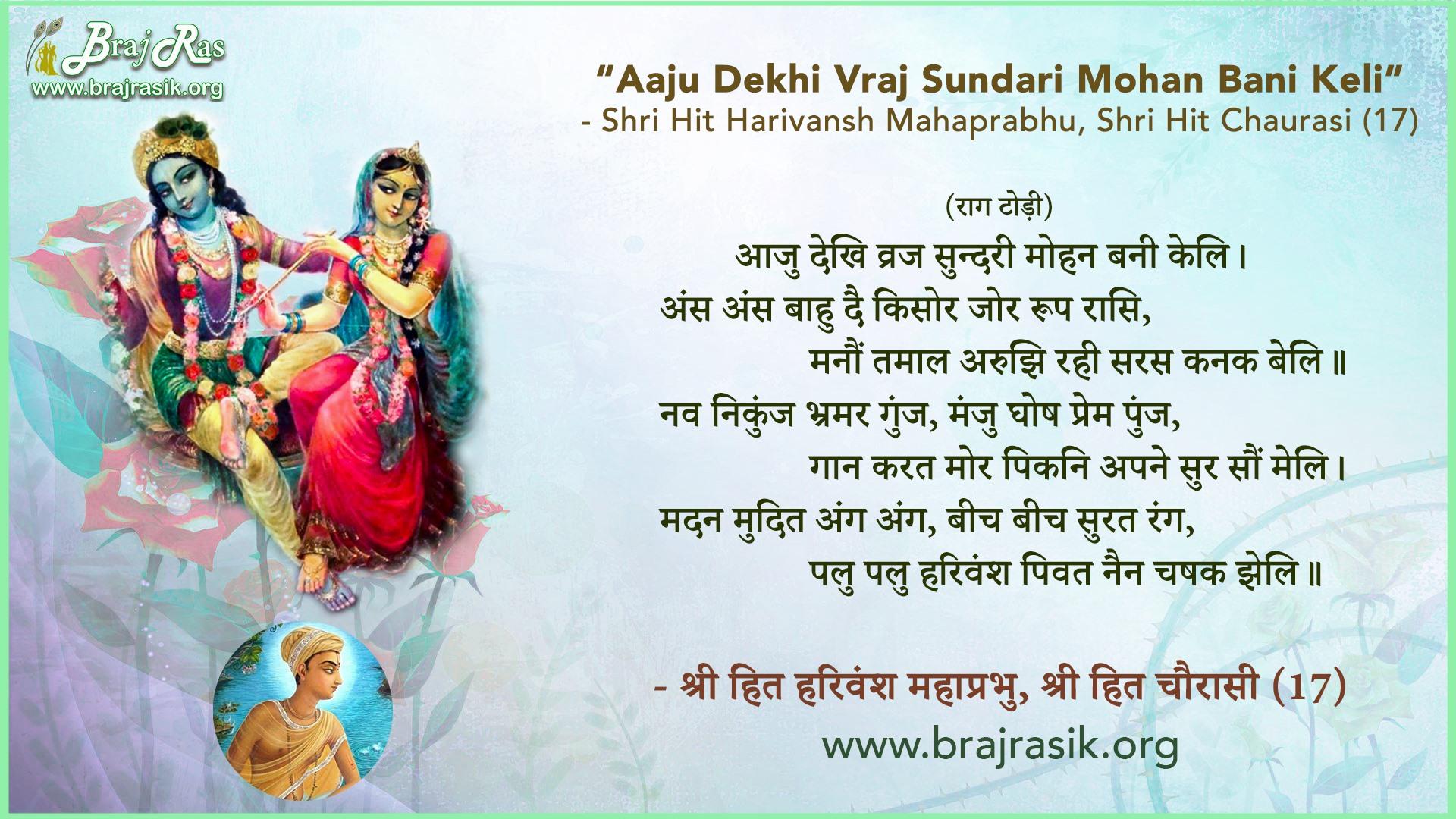 Aaju Dekhi Vraj Sundari Mohan Bani Keli - Shri Hit Harivansh Mahaprabhu, Shri Hit Chaurasi (17)