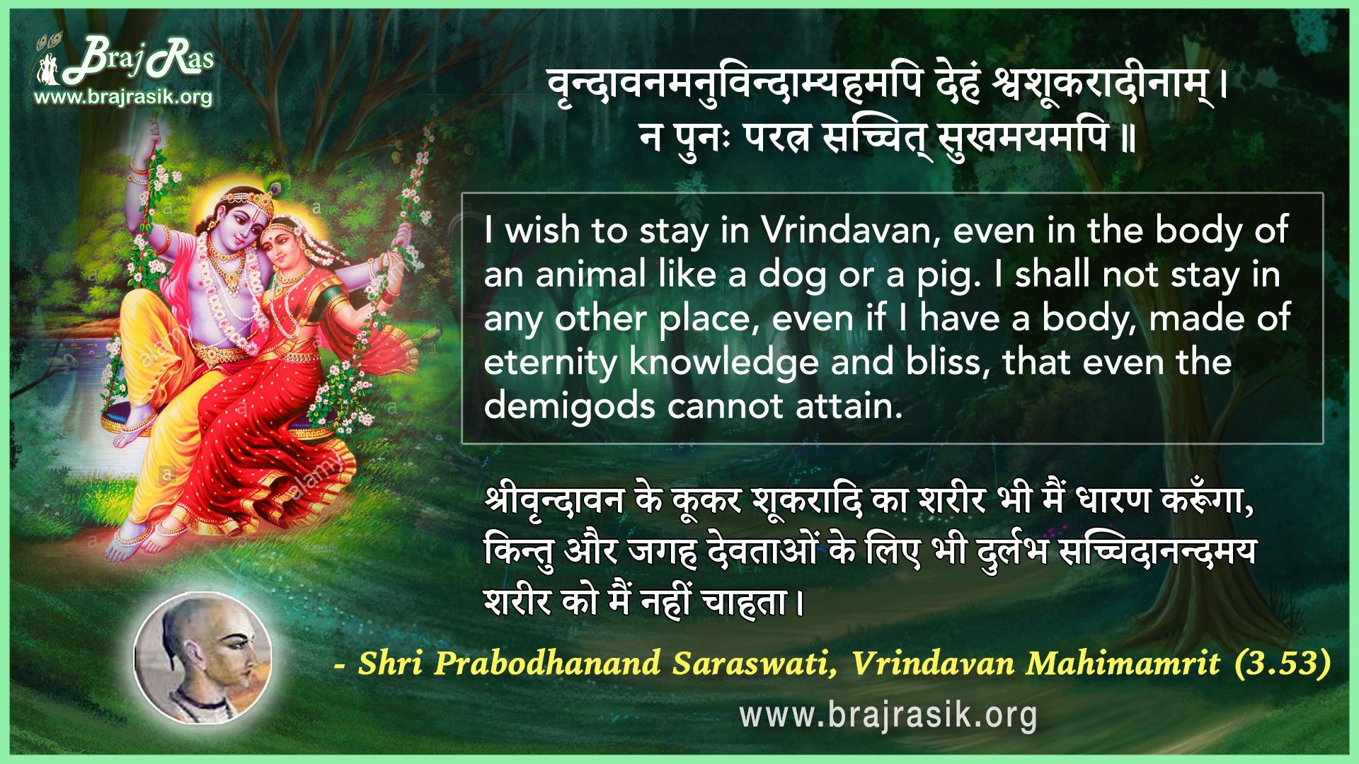 Vrindavanamanuvindaamyahamapi Deham - Shri Prabodhanand Saraswati, Vrindavan Mahimamrit (3.53)