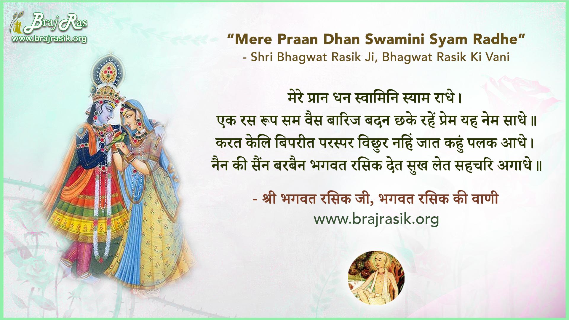 Mere Praan Dhan Swamini Syam Radhe - Shri Bhagwat Rasik Ji, Bhagwat Rasik Ki Vani