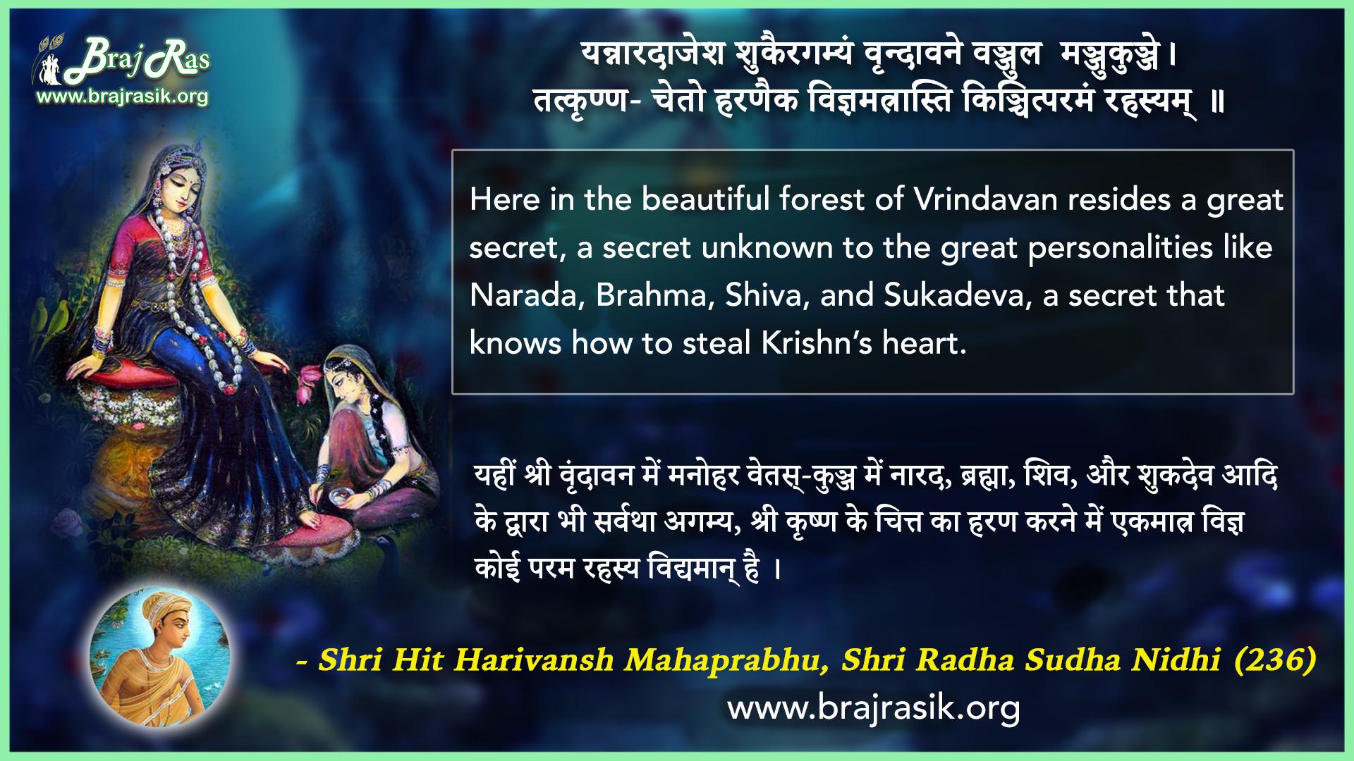 Yan Naradajesh Shukairgamyam - Shri Hit Harivansh Mahaprabhu, Shri Radha Sudha Nidhi (236)