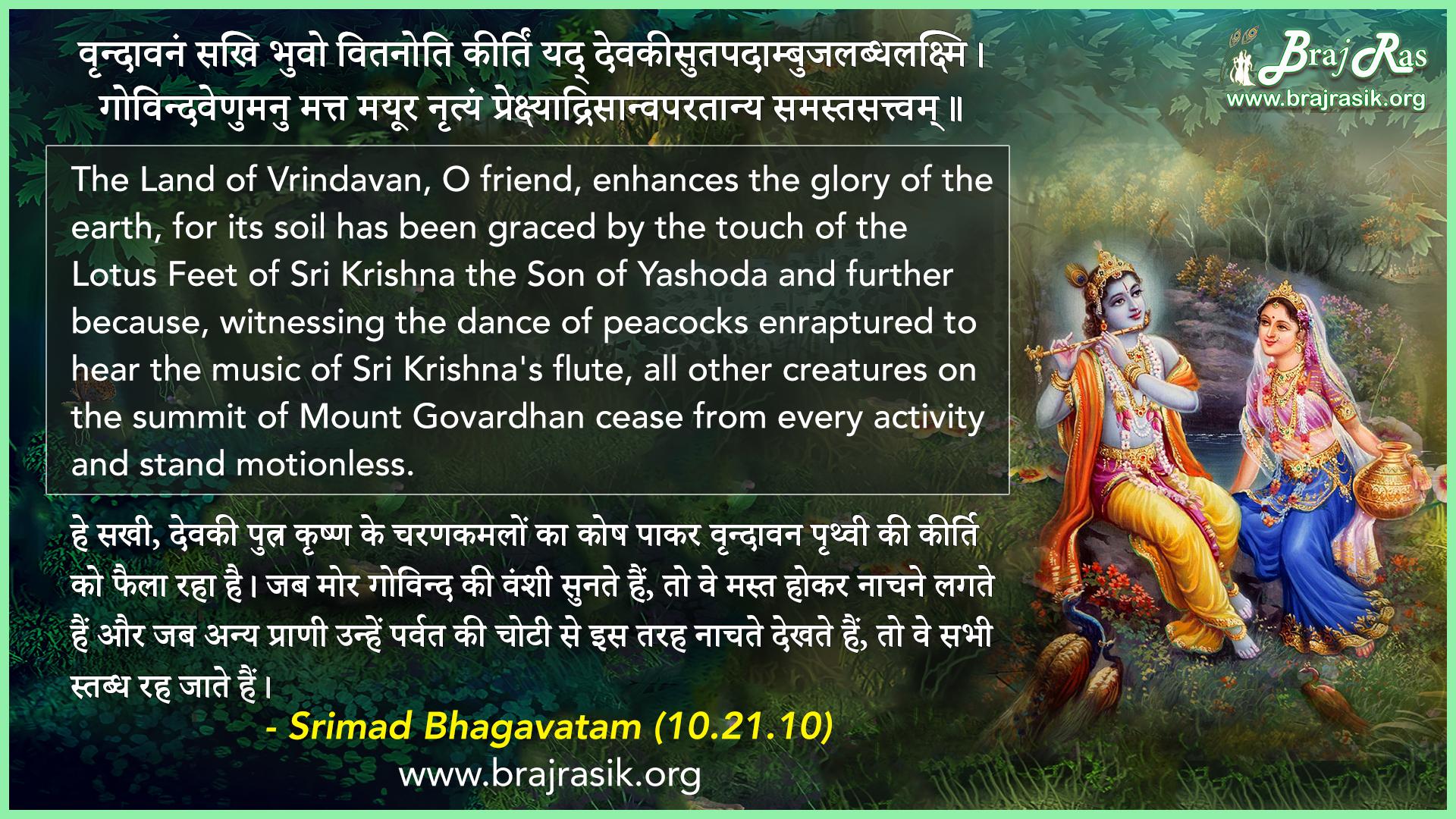Vrindavanam Sakhi Bhuvo Vitanoti Kirtim - Srimad Bhagavatam (10.21.10)