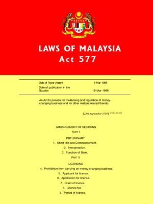 ACT 577 :Money Changing Act 1998