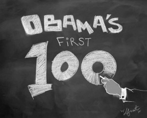 Obama's First 100 An Impartial, Illustrated Look Back at the President's First 100 Days in Office by Dfrnt from Bookbaby in Politics category