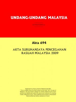 Akta 694 : AKTA SURUHANJAYA PENCEGAHAN RASUAH MALAYSIA 2009 by Xentral Methods from Xentral methods Sdn bhd in Law category