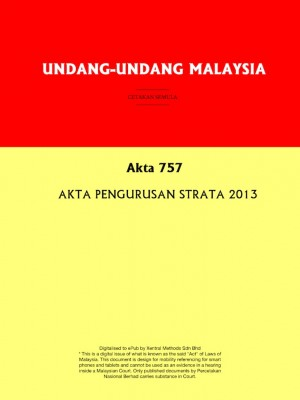 Akta 757 : AKTA PENGURUSAN STRATA 2013 by Xentral Methods from  in  category