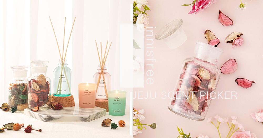 把花香搬進家裏!innisfree濟州島浪漫花園擴香系列~玻璃瓶還可以當夜燈太浪漫