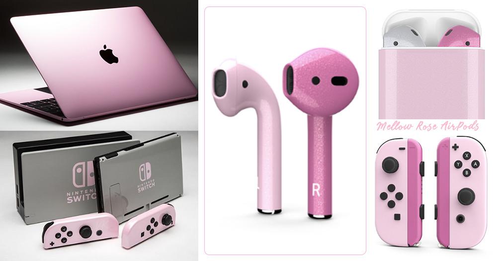 給特別的妳!閨蜜款「#Mellow Rose」玫瑰奶茶色「AirPods」、筆電、遊戲機開放訂製♡