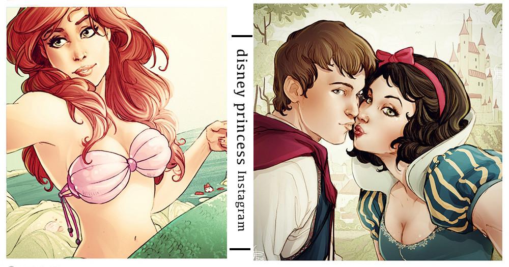 白雪公主又在放閃!精選6張超爆笑的「迪士尼公主IG貼文」插圖,各種露奶、床上自拍貼文根本是現代網美啊~