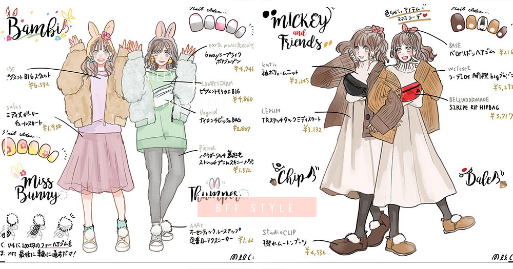 日本超可愛插畫「閨蜜穿搭」,連指彩都搭好好!迪士尼、皮卡丘都好萌,這5套完全跟上流行尖端~
