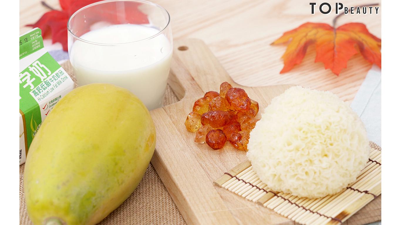 桃膠牛乳木瓜雪耳糖水
