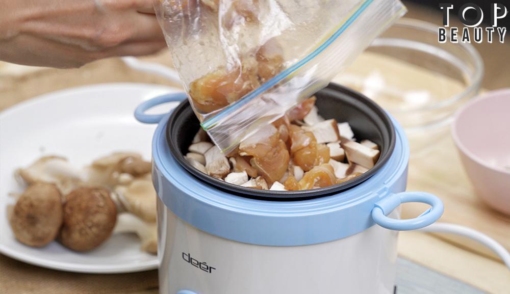香菇麻油雞燴飯_放入材料