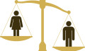 Weighing pan with male and female figure, male being heavier to show gender inequality in Malaysia