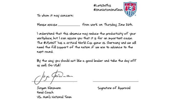 USA coach provides 'get out of work' note for Germany match