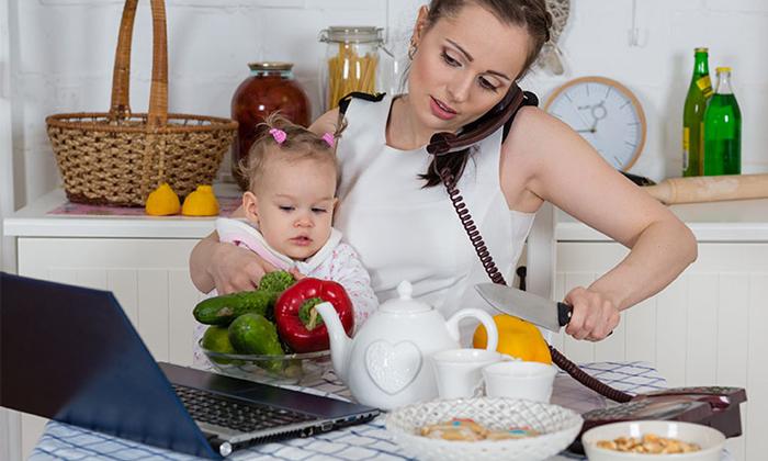 Woman multi tasking to show work-life blend overtaking work-life balance