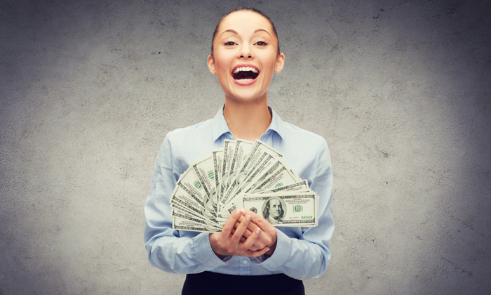 woman with salary happy