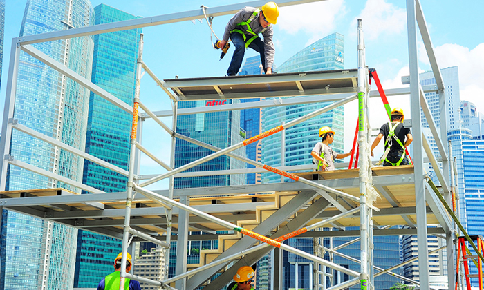Construction workers in Singapore