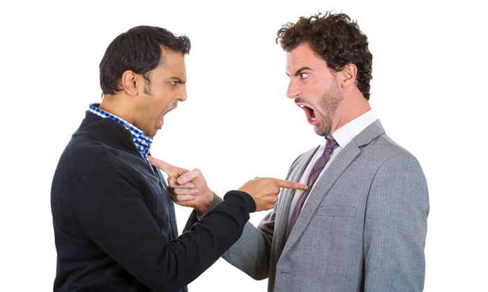 Businessmen fighting verbally