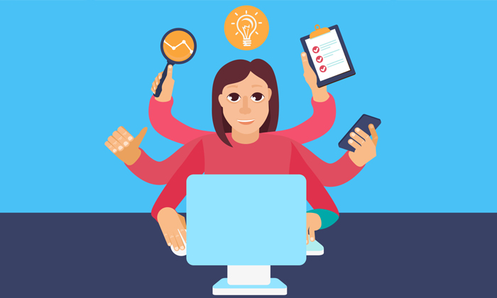 Woman multi-tasking