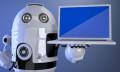 Robot holding a computer