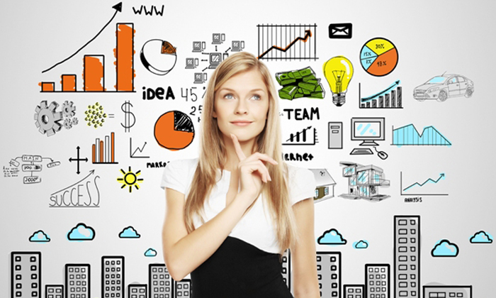 Businesswoman standing in front of creative concept to show how can women be more creative