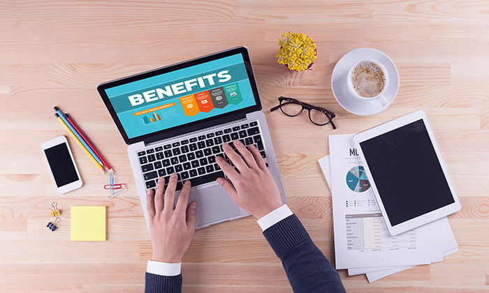 businessman working on benefits