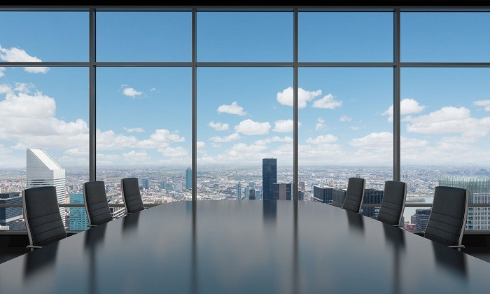 Empty boardroom with view, hr